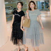 Dress Summer of 2019 Black, gray M,L,XL,2XL Mid length dress Fake two pieces Short sleeve commute Crew neck Loose waist Solid color Socket Princess Dress routine Korean version More than 95% brocade