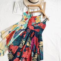 Dress Summer 2020 Average size Short skirt singleton  Sleeveless commute V-neck High waist zipper Irregular skirt other camisole Type A Korean version 81% (inclusive) - 90% (inclusive) other other