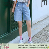 Jeans Summer 2020 566 light blue 566 light blue standby S M L Pant High waist Straight pants routine 18-24 years old Wash, grind and contrast Thin denim light colour Mark Fairwhale / mark Warfield Cotton 100% Same model in shopping mall (sold online and offline)
