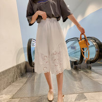 Casual pants White, black S,M,L Summer of 2019 Cropped Trousers Wide leg pants High waist commute routine 25-29 years old 96% and above polyester fiber Korean version Lace stitching polyester fiber