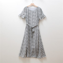 Dress Summer 2021 Grey, blue M,L,XL,2XL longuette singleton  Short sleeve commute Crew neck middle-waisted Decor Socket routine printing A813N25H51J9189