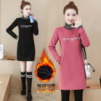 Dress Winter 2020 Black, red, bean paste red S,M,L,XL,2XL,3XL,4XL Mid length dress singleton  Long sleeves commute High collar Loose waist letter Socket A-line skirt routine 25-29 years old Other / other Korean version