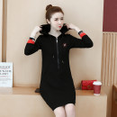 Dress Spring 2021 Black (without velvet), black (with velvet) M,L,XL,2XL,3XL,4XL Mid length dress singleton  Long sleeves commute Hood Loose waist letter zipper A-line skirt routine 18-24 years old Other / other Korean version Embroidery, pocket, stitching, thread 51% (inclusive) - 70% (inclusive)