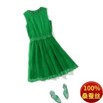 Dress Summer of 2019 green S,M,L,XL,2XL,3XL Mid length dress singleton  Sleeveless street Crew neck middle-waisted Solid color Socket A-line skirt other Others Type A Nail bead, Sequin More than 95% silk Europe and America