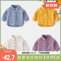 shirt Yiqi baby neutral 66cm,73cm,80cm,90cm,100cm,110cm,120cm,130cm spring and autumn Long sleeves Korean version Solid color cotton Lapel and pointed collar Cotton 100% Class A