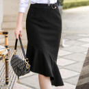 skirt Autumn 2020 S,M,L,XL,2XL,3XL,4XL black Mid length dress Versatile Natural waist Suit skirt Solid color Type A 25-29 years old YQ3009 81% (inclusive) - 90% (inclusive) other polyester fiber Three dimensional decoration, asymmetry, wave, button