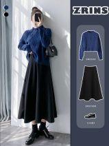 Parcel bag / woven bag Black wool medium length umbrella skirt, coffee wool medium length umbrella skirt, black suit umbrella skirt, coffee suit umbrella skirt M
