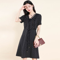 Dress Summer 2021 White spots on black M,L,XL,2XL Other / other 8829XYF More than 95% polyester fiber
