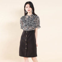 Dress Summer 2021 black + safflower , black + black and white M,L,XL,2XL,3XL Other / other Y20B1005 More than 95% polyester fiber