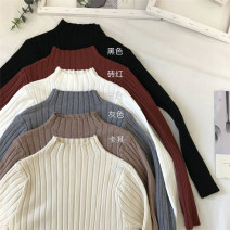 Wool knitwear Autumn of 2019 Average size Black, gray, white, khaki, cream apricot, brick red Long sleeves singleton  Socket other 30% and below have cash less than that is registered in the accounts routine commute Self cultivation Half height crew neck routine Solid color Socket Korean version