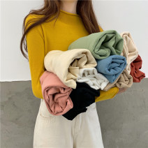 Wool knitwear Autumn 2020 Average size Black, white, ginger, light apricot, haze blue, Matcha green, flower apricot, oat, skin pink, brick red Long sleeves singleton  Socket other 30% and below Thin money commute Half height crew neck routine Solid color Socket Korean version 18-24 years old