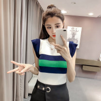 Wool knitwear Summer of 2018 Average size Khaki, white, blue Sleeveless singleton  other 31% (inclusive) - 50% (inclusive) Regular Thin money commute Self cultivation Low crew neck Color matching lady 232# Other / other