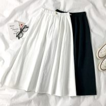 skirt Summer 2020 Average size black Mid length dress commute High waist A-line skirt Solid color Type A 18-24 years old six point one eight Button, zipper Korean version
