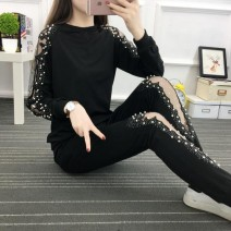 Women's large Spring 2021 Black [fashion Beaded suit] XL [100-120 Jin], 2XL [130-145 Jin], 3XL [150-165 Jin], 4XL [170-200 Jin], l [90-100 Jin], M Other oversize styles Two piece set street easy moderate Socket Long sleeves Solid color Crew neck routine Polyester, others Collage routine Diamond inlay