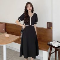 Women's large Summer 2021 black M【80-100】,L【100-120】,XL【120-140】,2XL【140-160】,3XL【160-180】,4XL【180-200】 Dress singleton  commute easy thin Socket Short sleeve Solid color Korean version V-neck Polyester, cotton Three dimensional cutting bishop sleeve 25-29 years old Lace stitching longuette