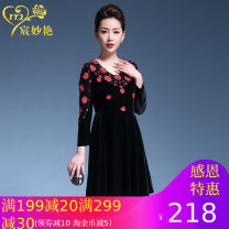 Middle aged and old women's wear Spring 2017 Black red, black apricot M,L,XL,XXL,XXXL,4XL commute Dress easy singleton  Big flower 40-49 years old Socket thin V-neck routine Chen miaoyan Embroidery Polyester, others zipper Middle-skirt Polyester Retro