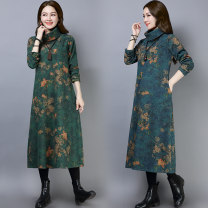 Dress Winter of 2018 #536 blue [without velvet], ා536 green [without velvet], ා553 blue [with velvet], ා553 green [with velvet] M,L,XL,2XL longuette singleton  Long sleeves commute High collar Loose waist Decor Socket 25-29 years old ethnic style 71% (inclusive) - 80% (inclusive)