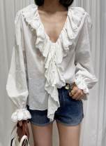 shirt white 36,38,40 Summer 2021 cotton 96% and above Long sleeves commute Regular Lotus leaf collar pagoda sleeve Solid color Straight cylinder Korean version