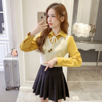 Fashion suit Spring 2021 S,M,L,XL Blue shirt + Black pleated skirt, yellow shirt + Black pleated skirt, blue shirt, yellow shirt, single shot black pleated skirt 18-25 years old 51% (inclusive) - 70% (inclusive)