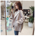 woolen coat Spring 2021 S,M,L,XL,2XL Blue, pink, oatmeal other 51% (inclusive) - 70% (inclusive) Medium length Long sleeves commute other routine tailored collar Solid color Straight cylinder lady Other / other
