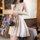 Dress Winter 2020 Cream apricot, fairy black, cream apricot with velvet, fairy black with velvet, cream apricot short sleeve, fairy black short sleeve S,M,L,XL,2XL singleton  Long sleeves commute Solid color Socket A-line skirt routine 18-24 years old Korean version other