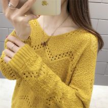 Wool knitwear Autumn 2021 S,M,L,XL Long sleeves singleton  Socket other 30% and below Regular routine commute easy V-neck routine Solid color Socket Korean version Hollowing out