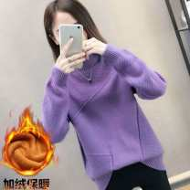 Wool knitwear Winter of 2019 S,M,L,XL,2XL,3XL Black, white, blue, purple, brick red, black Plush thickening, white plush thickening, Blue Plush thickening, Purple Plush thickening, brick red plush thickening Long sleeves singleton  Socket other 51% (inclusive) - 70% (inclusive) Regular thickening