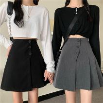 skirt Autumn 2020 S,M,L,XL,2XL,3XL,4XL Black, gray Short skirt Versatile High waist A-line skirt Solid color Type A 71% (inclusive) - 80% (inclusive) other polyester fiber Asymmetry, button
