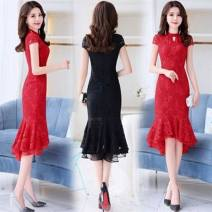 Dress Summer 2020 M,L,XL,2XL,3XL Miniskirt singleton  Long sleeves commute other middle-waisted Solid color Socket other routine Others 30-34 years old Type X Other / other Korean version Gouhua hollow Lace