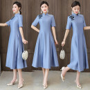 cheongsam Summer 2021 M,L,XL,2XL,3XL blue Short sleeve Single cheongsam Retro No slits daily Round lapel Solid color Embroidery other 81% (inclusive) - 90% (inclusive)