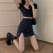 Women's large Summer 2021 Top, skirt, top + skirt S,M,L,XL singleton  commute Self cultivation Broken flowers Korean version square neck have cash less than that is registered in the accounts puff sleeve 18-24 years old Short skirt