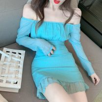Women's large Summer 2021 Picture color S,M,L,XL singleton  commute Self cultivation Socket Solid color Korean version One word collar routine 18-24 years old Short skirt