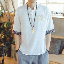 T-shirt Youth fashion Light blue, white, black, Navy, denim thin M,L,XL,2XL,3XL,4XL,5XL Others Short sleeve stand collar easy Other leisure summer youth routine Chinese style 2021 Plants and flowers Embroidery Cotton and hemp No iron treatment Fashion brand