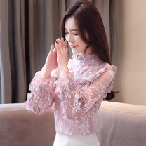 Lace / Chiffon Spring of 2019 Pink, black [skirt] S,M,L,XL,2XL Long sleeves commute Socket singleton  easy Regular High collar Solid color bishop sleeve 25-29 years old Flounce, hollowed out, Auricularia auricula, Gouhua, hollowed out, splicing, mesh, 3D, lace Korean version polyester fiber