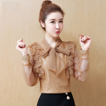 Lace / Chiffon Autumn of 2019 Coffee, white, black [skirt] S,M,L,XL,2XL Long sleeves commute Socket singleton  Straight cylinder Regular V-neck Solid color routine 25-29 years old Bows, tassels, stitches, beads, mesh, lace Korean version 81% (inclusive) - 90% (inclusive) polyester fiber
