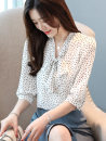 Lace / Chiffon Summer of 2019 White, red, black [skirt] S,M,L,XL,2XL Short sleeve commute Socket singleton  easy have cash less than that is registered in the accounts Crew neck Dot shirt sleeve 25-29 years old Bowknot, tuck, fold, lace, stitching, button, lace Korean version polyester fiber