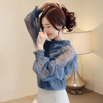 Lace / Chiffon Autumn of 2019 Blue, apricot, black, red, pink, black [skirt] S,M,L,XL,2XL Long sleeves commute Socket singleton  easy Regular stand collar Solid color Lotus leaf sleeve 25-29 years old Ruffles, ruffles, folds, Auricularia auricula, Gouhua, hollow, stitching, buttons, mesh, 3D, lace