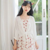 Lace / Chiffon Summer 2020 white S,M,L,XL Long sleeves Versatile Cardigan singleton  easy have cash less than that is registered in the accounts Solid color routine 18-24 years old More and more GYN8309 31% (inclusive) - 50% (inclusive) polyester fiber