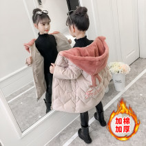 Cotton padded jacket female No detachable cap Cotton 91% - 95% July baby Black, off white 110cm,120cm,130cm,140cm,150cm,160cm thickening Zipper shirt Korean version There are models in the real shooting Solid color flannelette Class B Crew neck Polyester liner Chinese Mainland Zhejiang Province