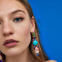 Earrings Mixed materials RMB 25-29.99 Dvacaman Picture color gray color purple color green light blue black brand new female Europe and America goods in stock Fresh out of the oven Alloy inlaid artificial gem / semi gem Love / water drop / bell
