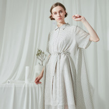 Dress Summer of 2019 Off white, black S,M,L Mid length dress singleton  elbow sleeve commute square neck High waist lattice Single breasted Big swing pagoda sleeve 25-29 years old Type H No restrictions Simplicity Lace up 81% (inclusive) - 90% (inclusive) polyester fiber