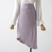 skirt Spring 2021 XS,S,M,L,XL Blue, purple, black Mid length dress commute High waist skirt Solid color Type A 18-24 years old 31% (inclusive) - 50% (inclusive) other Qin Yao other Asymmetry lady