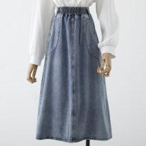 skirt Spring 2021 S,M,L,XL Black, blue, white Mid length dress Versatile High waist A-line skirt 18-24 years old Qin Yao
