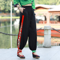 Casual pants black Average size Spring 2020 trousers Wide leg pants low-waisted commute routine 81% (inclusive) - 90% (inclusive) cotton ethnic style Embroidery cotton