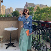 Dress Autumn 2020 Blue with green S,M,L,XL Mid length dress Fake two pieces Long sleeves commute Doll Collar High waist Abstract pattern Socket Pleated skirt shirt sleeve Others Type X Gulaliang Retro Embroidery, fold, stitching, asymmetry YL202001 other other