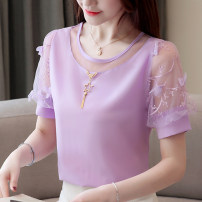 Lace / Chiffon Summer 2021 M,L,XL,2XL,3XL Short sleeve commute Socket singleton  easy Regular Crew neck Solid color bishop sleeve Other / other Korean version 96% and above polyester fiber
