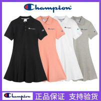 Dress Summer 2021 White-304, black-304, gray-304, pink-304 S,M,L,XL Mid length dress singleton  Short sleeve Sweet Polo collar High waist Solid color Three buttons A-line skirt routine Others 18-24 years old Type A CHAMPION Embroidery, buttons More than 95% brocade cotton solar system