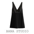 Dress Spring 2020 black L,M,S,XS Short skirt singleton  Sleeveless street V-neck High waist Solid color zipper other other camisole Type X Bowknot, stitching, zipper, lace up 71% (inclusive) - 80% (inclusive) other polyester fiber Europe and America