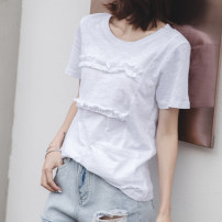 T-shirt white S,M,L,XL,2XL Summer 2021 Short sleeve Crew neck easy Regular routine commute cotton 96% and above 18-24 years old Korean version youth Solid color Cotton of cotton EY-F0283 Pocket, stitching, ruffle, original design