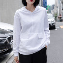 T-shirt white S,M,L,XL,2XL Spring 2021 Long sleeves Hood easy Regular routine commute cotton 96% and above 18-24 years old Korean version youth Solid color Cotton of cotton EY-F0346H Pocket, original design
